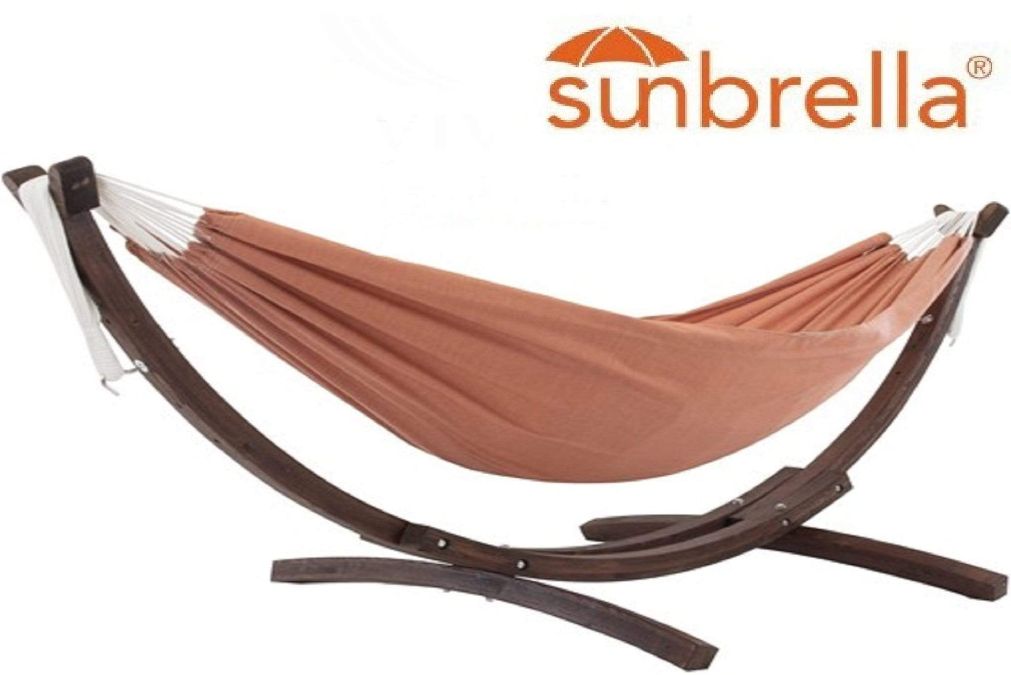 Vivere Sets Coral Double Sunbrella® Hammock with 2.5m Solid Pine Arc Stand