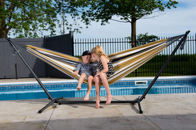 Vivere Sets Single Cotton Hammock with 2.5m Metal Stand