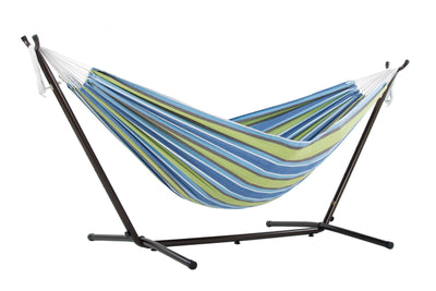 Vivere Sets Oasis Single Cotton Hammock with 2.5m Metal Stand