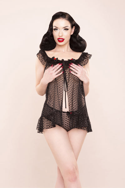 Bettie Page Dot Mesh Babydoll & HW Pant