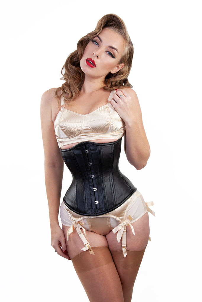 Bettie Page Leather Underbust Corset