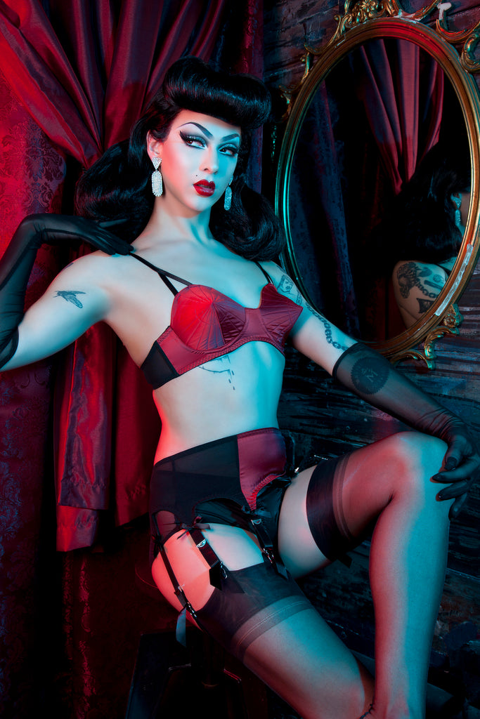 Bettie Page Dark Red Retro Futuristic Bullet Bra - Bettie Page Lingerie