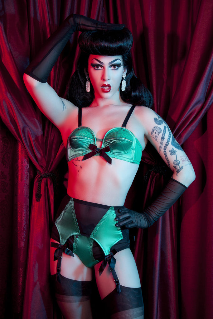 Bettie Page Emerald Green Z Stitch Highwaist Brief - Bettie Page Lingerie