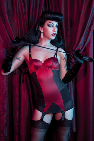 Bettie Page Black/Red Shaping Corselette - Bettie Page Lingerie