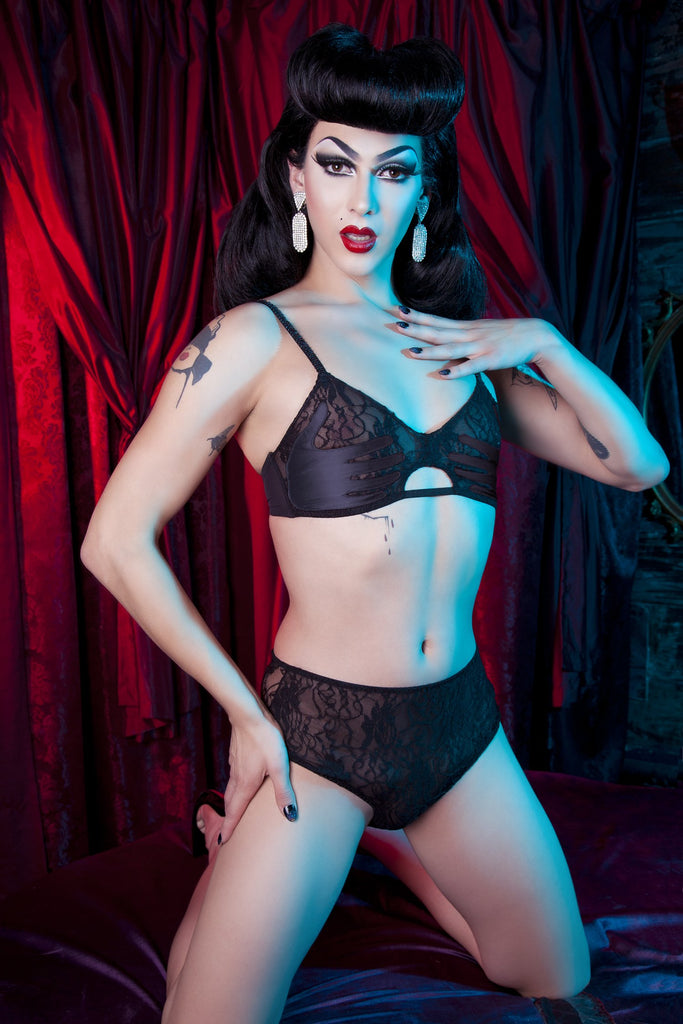 Black High Waist Hand Print Lace Brief - Bettie Page Lingerie