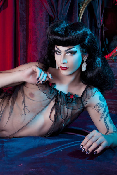 Black Tulle Babydoll & High Waist Brief - Bettie Page Lingerie