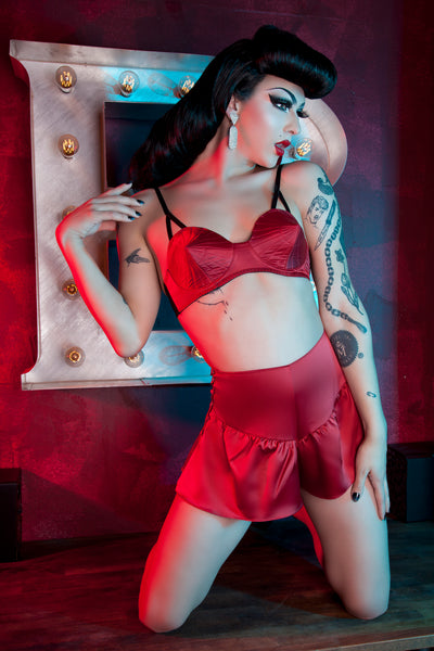 Bettie Page Dark Red French Knicker - Bettie Page Lingerie