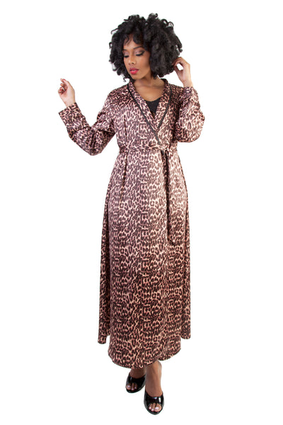 Leopard Print Satin Robe - Bettie Page Lingerie