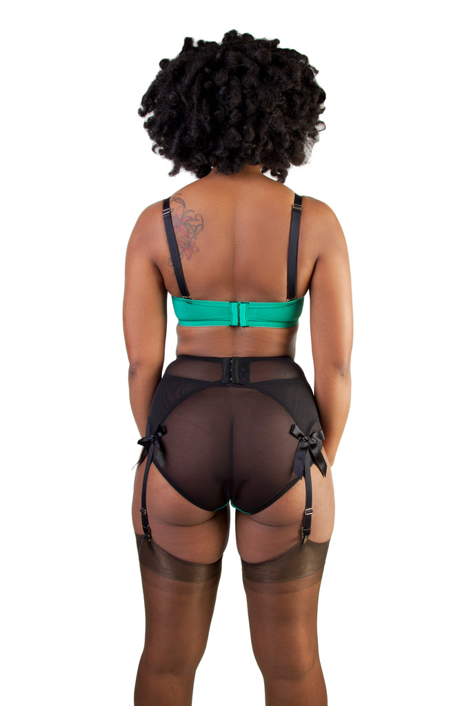Bettie Page Emerald Green Z Stitch Strap Suspender Belt - Bettie Page Lingerie