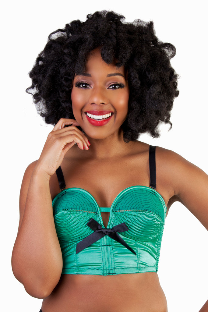 Bettie Page Emerald Longline Spiral Stitch Overwire Bra - Bettie Page Lingerie