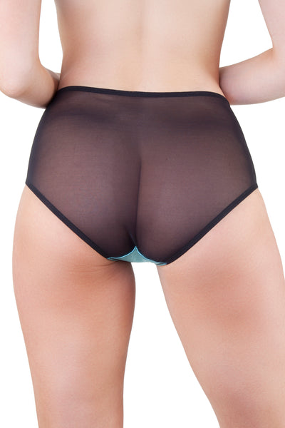 Teal/Black Z Stitch Highwaist Brief