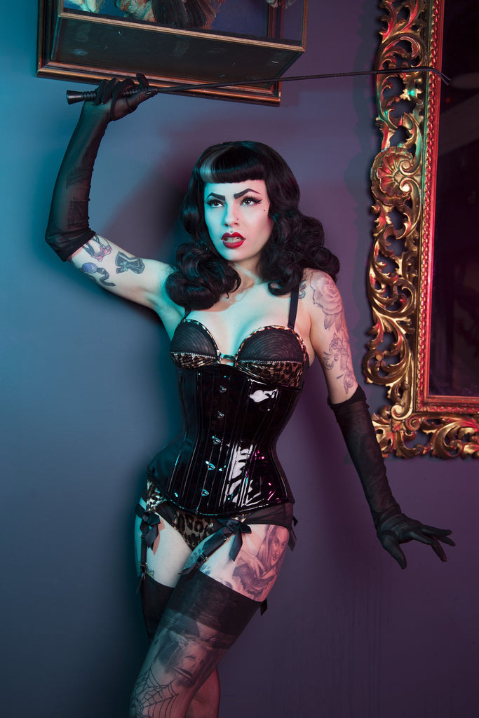 Bettie Page Vinyl Fetish Underbust Corset