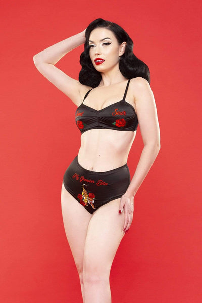 Bettie Page Retro Embroidery bra