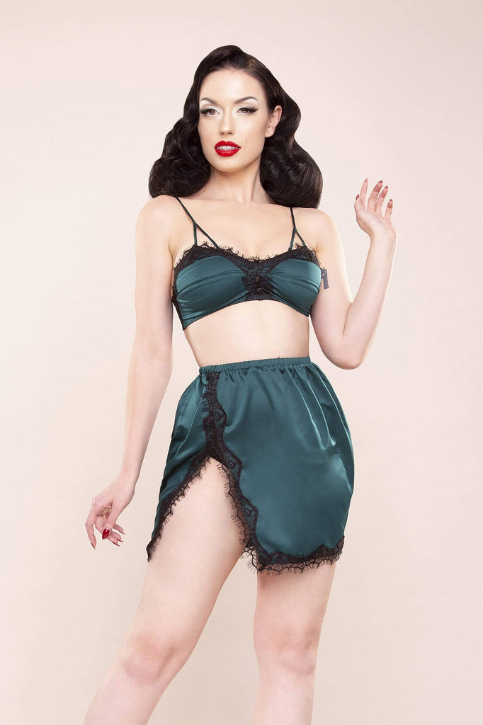 Bettie Page Satin & Lace Bralette & Slip Skirt Green