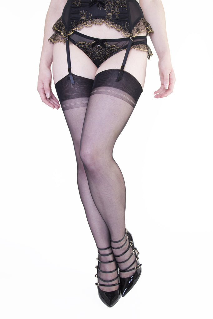 Point Heel Stockings - Black