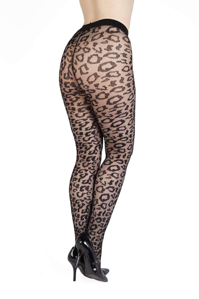 Bettie Page Leopard Knit Tights - Black UK 8 – 22
