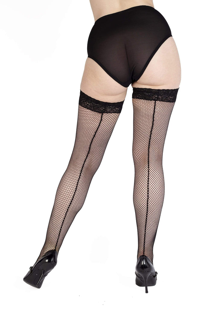 Bettie Page Fishnet Seamed Stockings Black UK 8 – 22