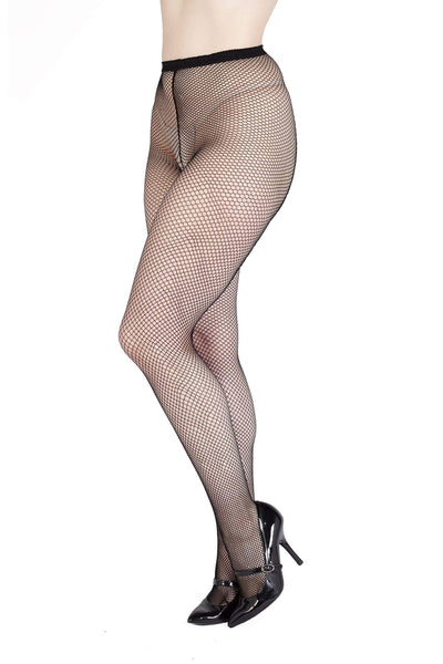 Bettie Page Fishnet Seamed Tights - Black UK 8 – 22