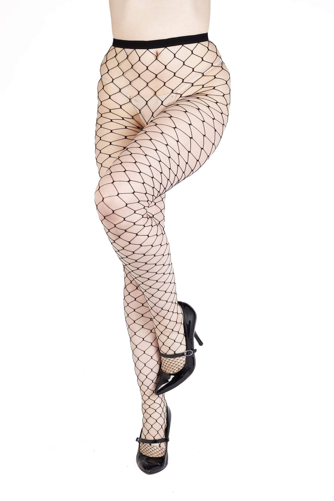 Bettie Page Fence Net Tights - Black UK 8 – 22