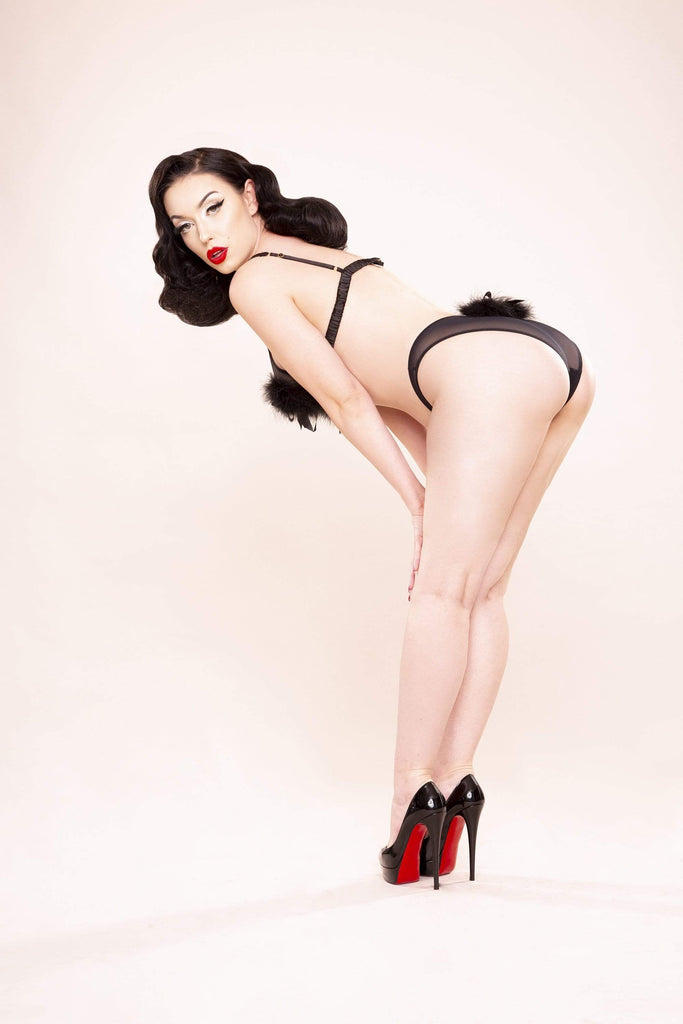 Bettie Page Powder Puff Triangle Black