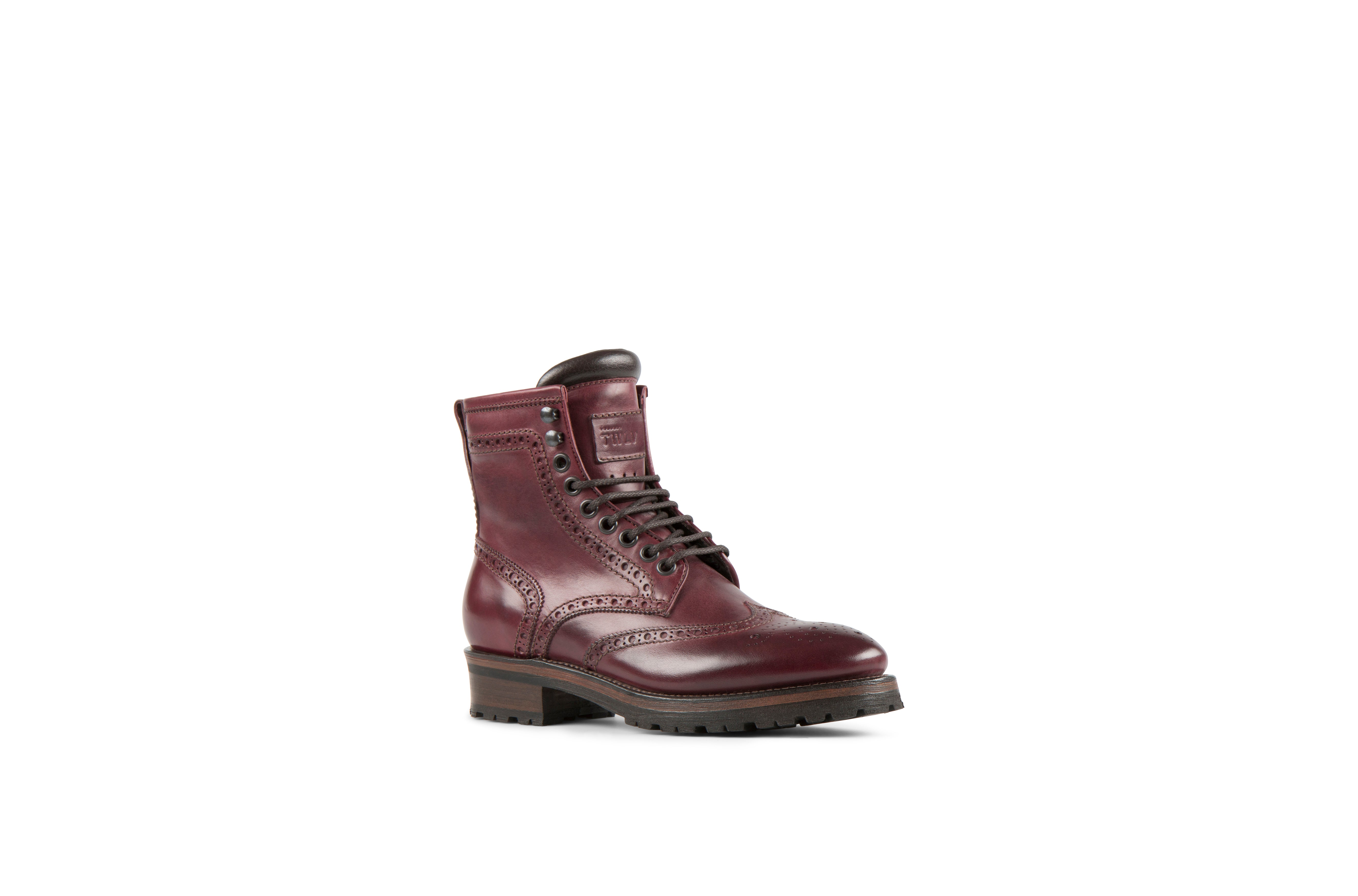 Baltimore Burgundy Cordovan Leather Logger Boots