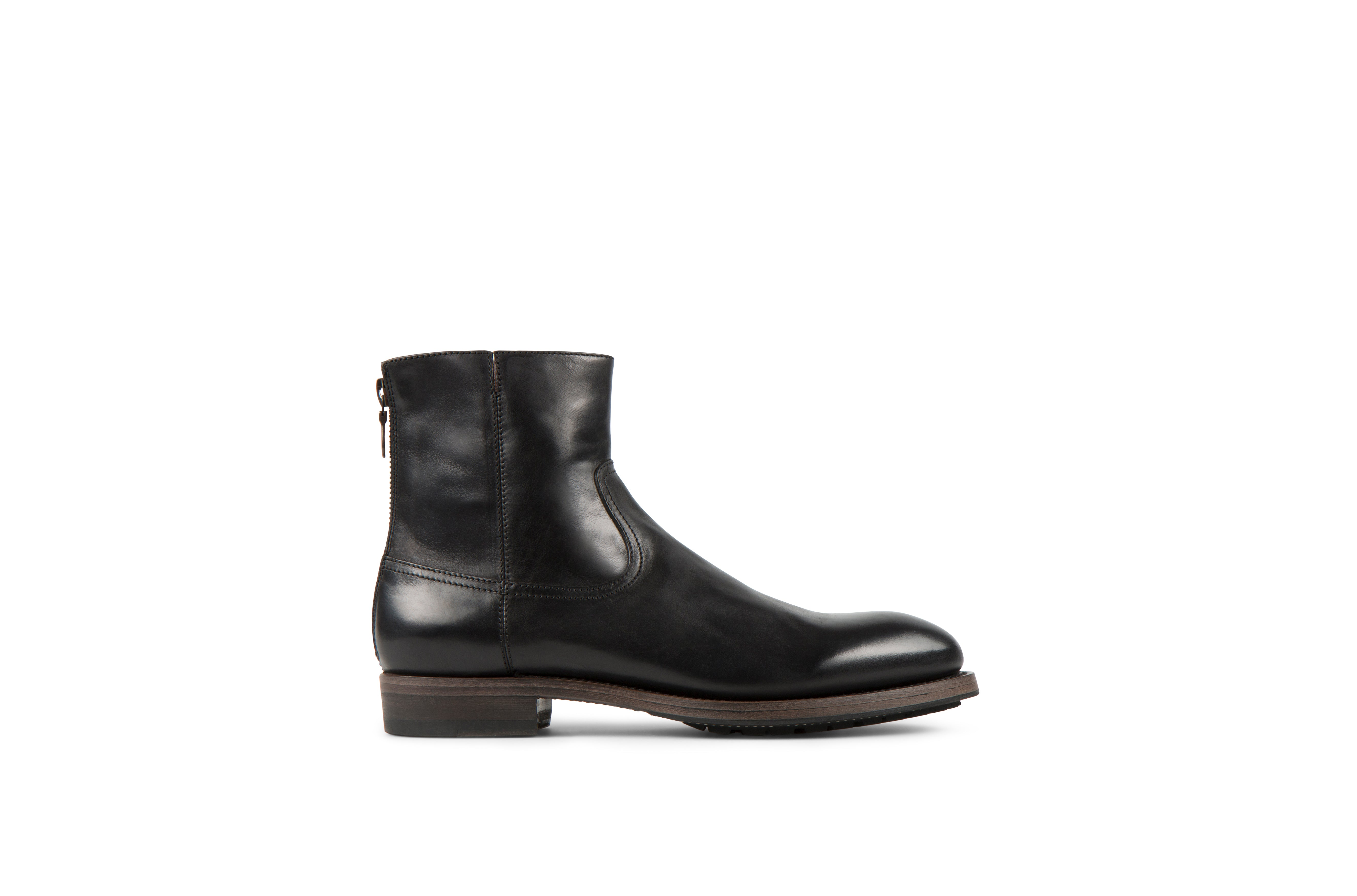 Flame Black Cordovan Leather Zipper Boots