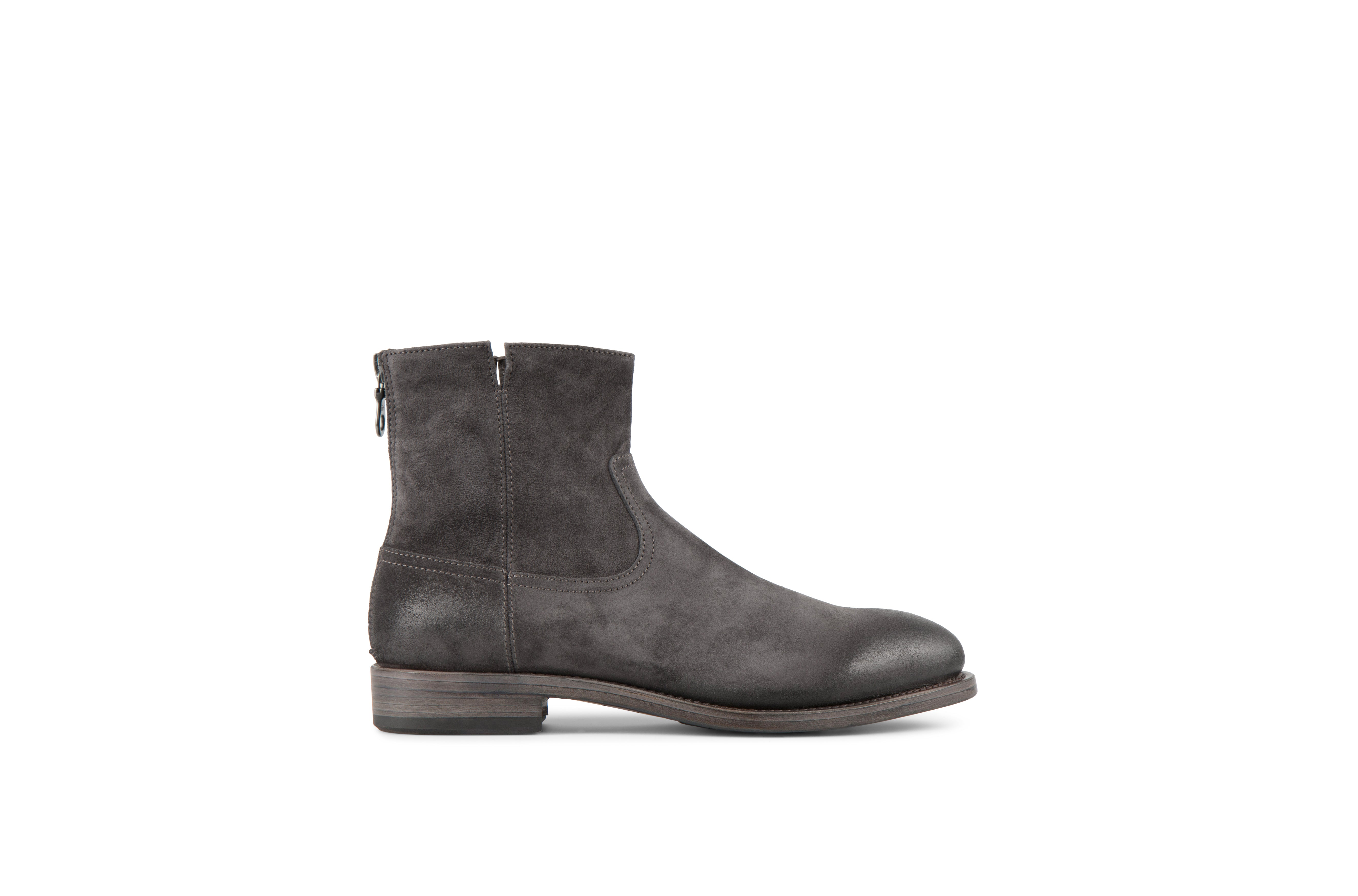 Flame Anthracite Suede Leather Zipper Boots
