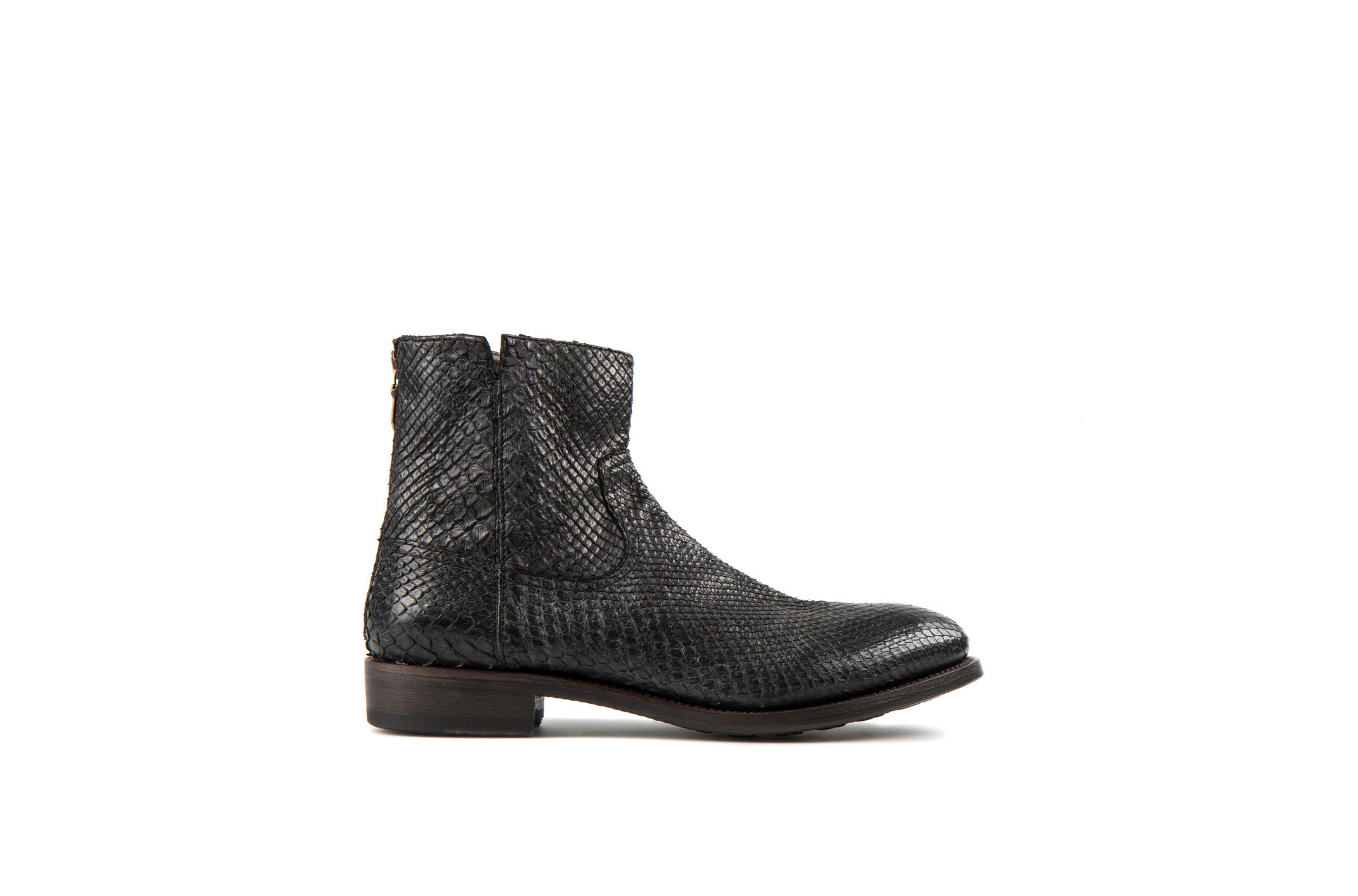 Flame Black Snake Leather Zipper Boots