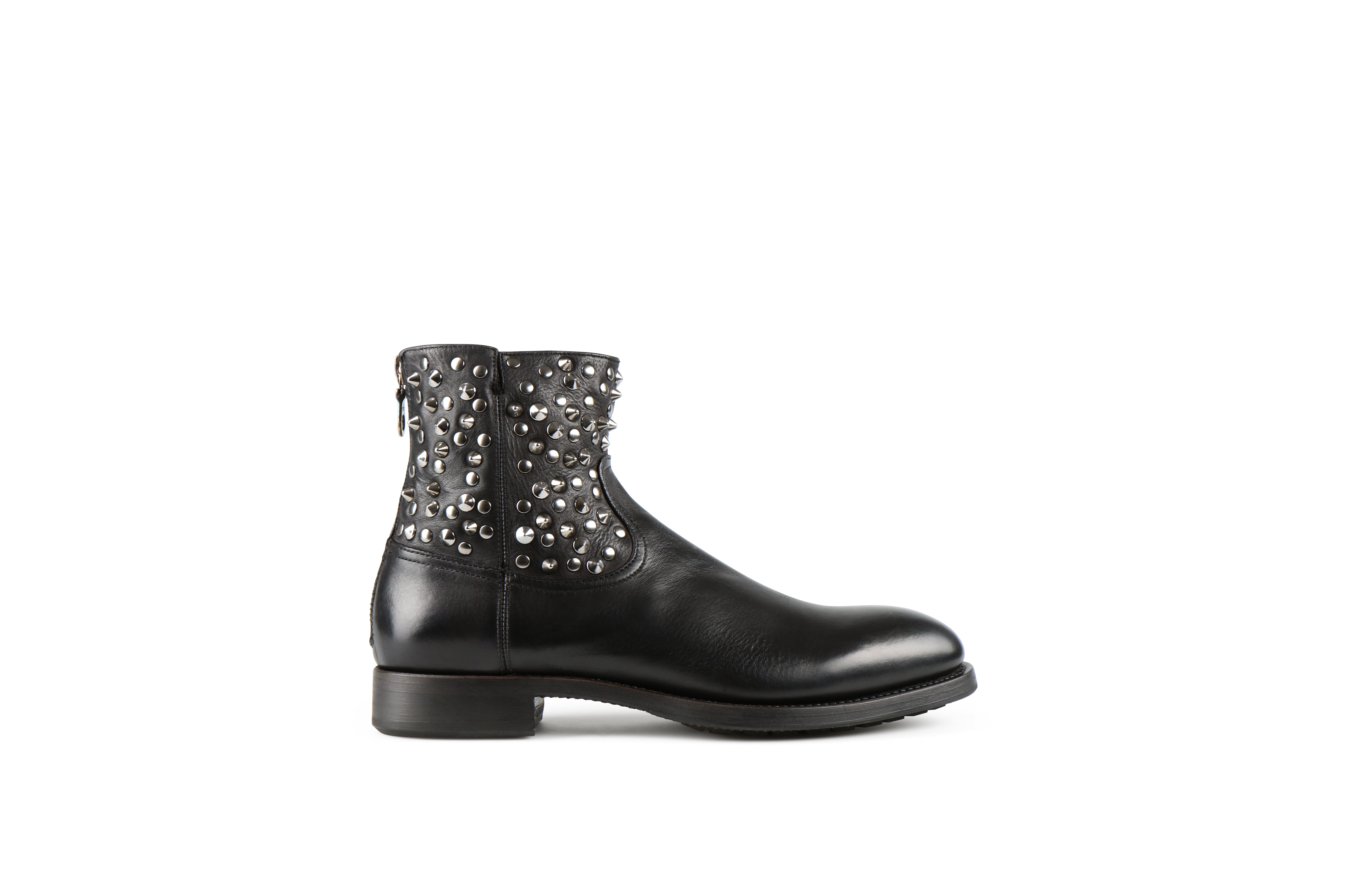 Flame Studs 2 Black Washed Calf Leather Zipper Boots