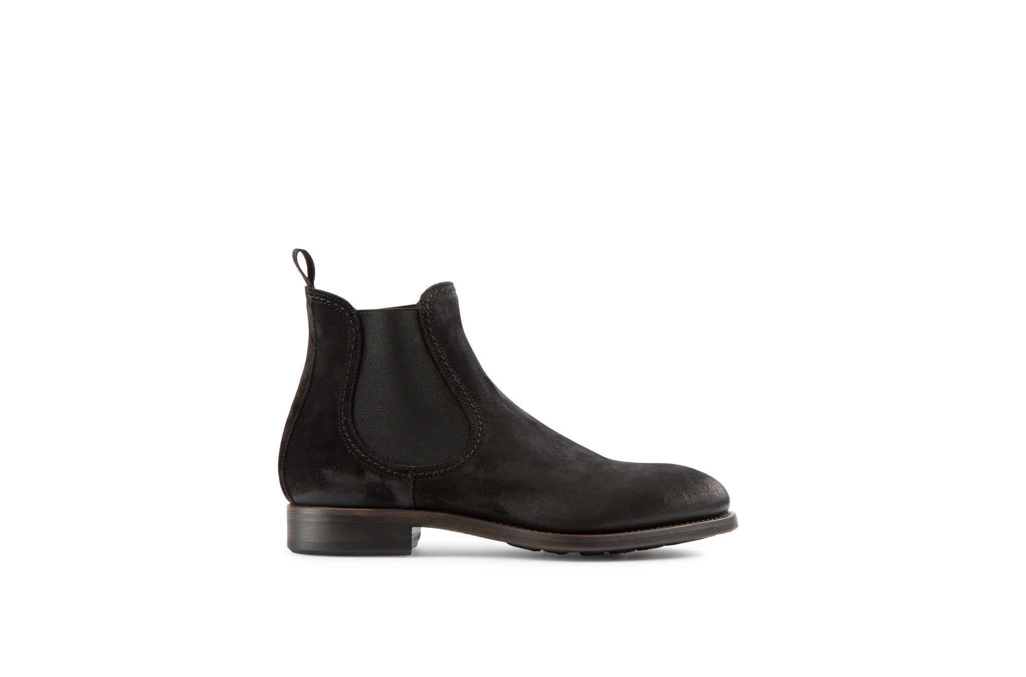 Hanoi Black Suede Leather Chelsea Boots