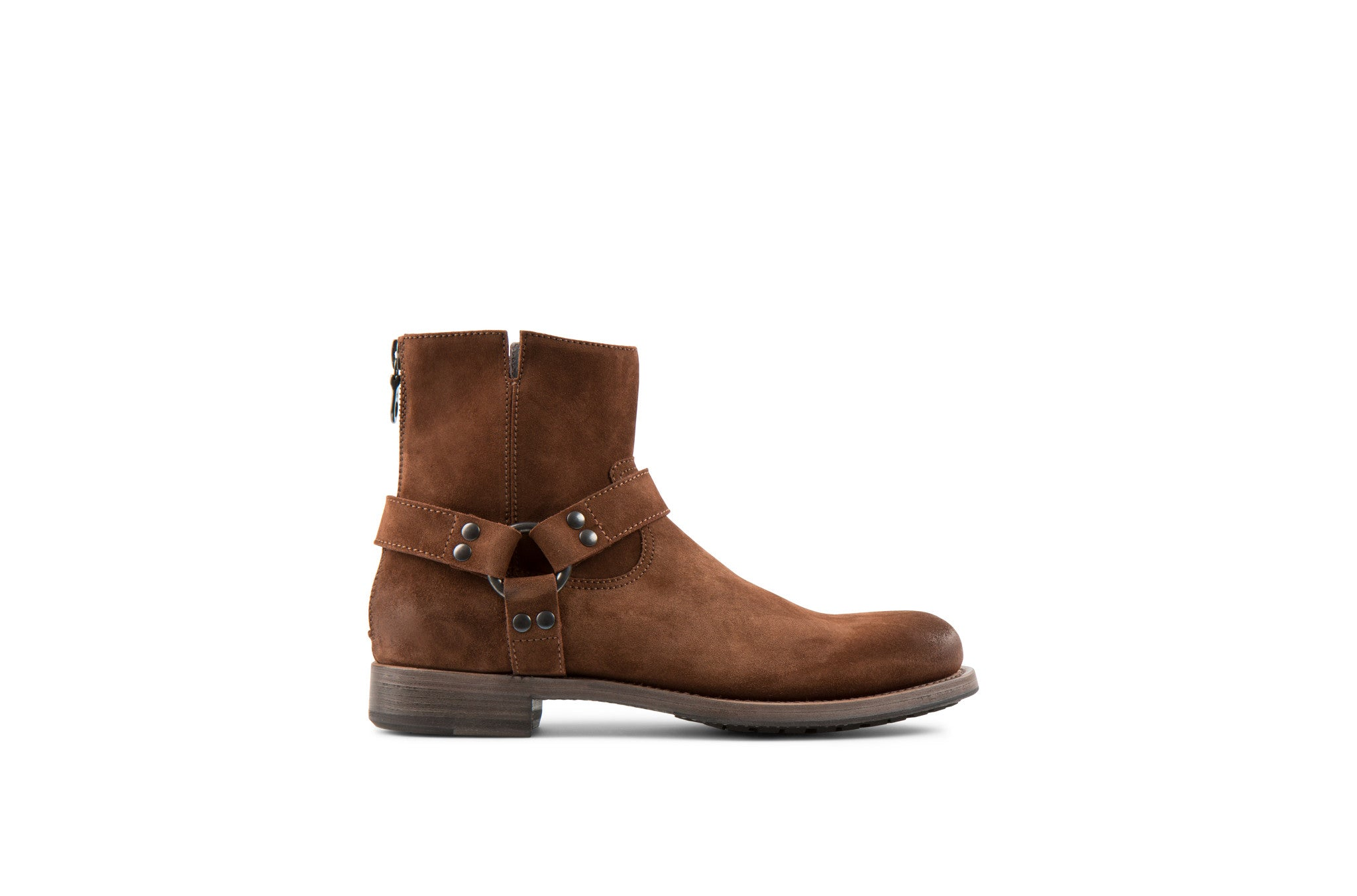 Hives Tan Suede Leather Harness Boots