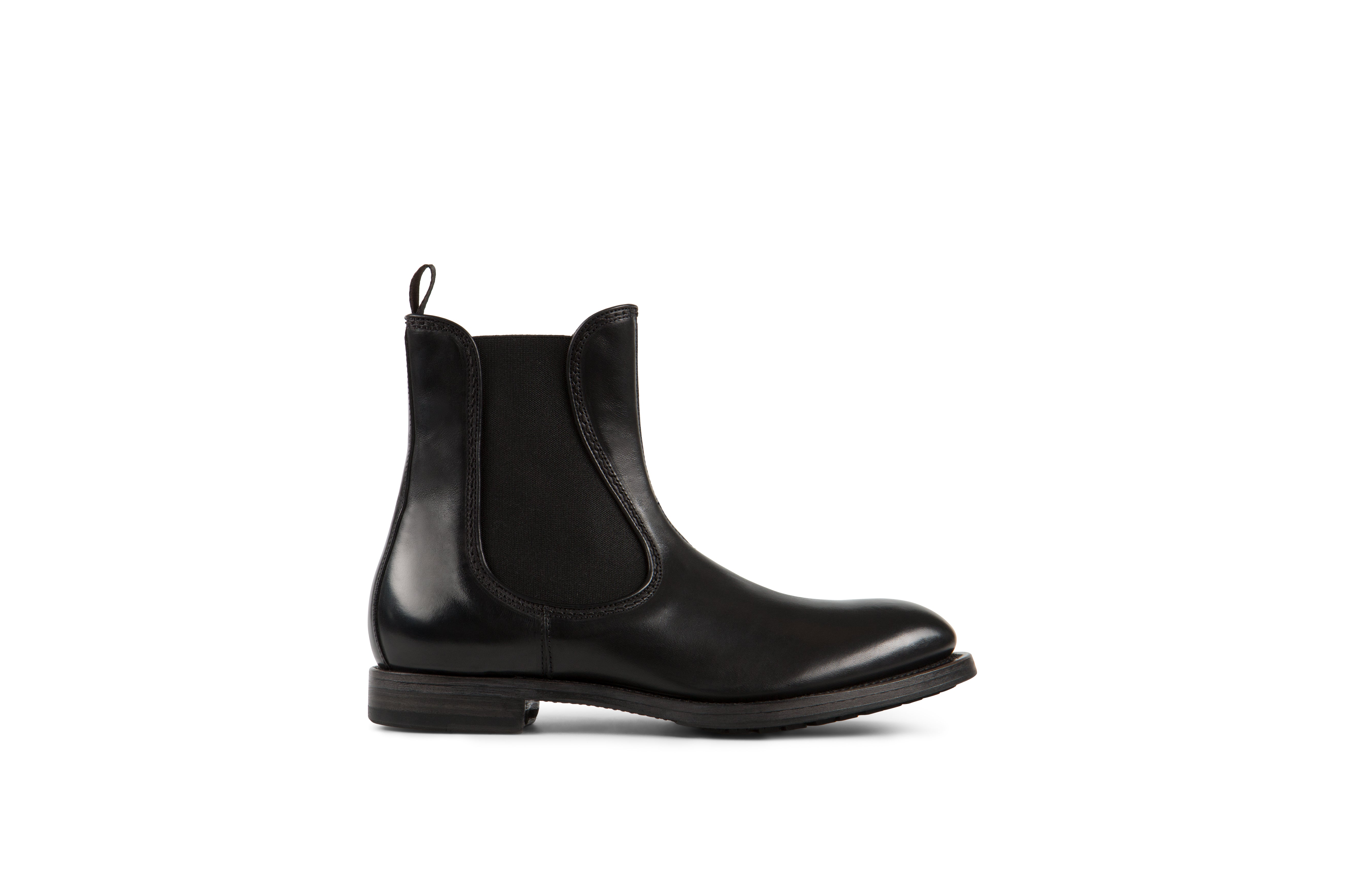 Icon Black Cordovan Leather Chelsea Boots