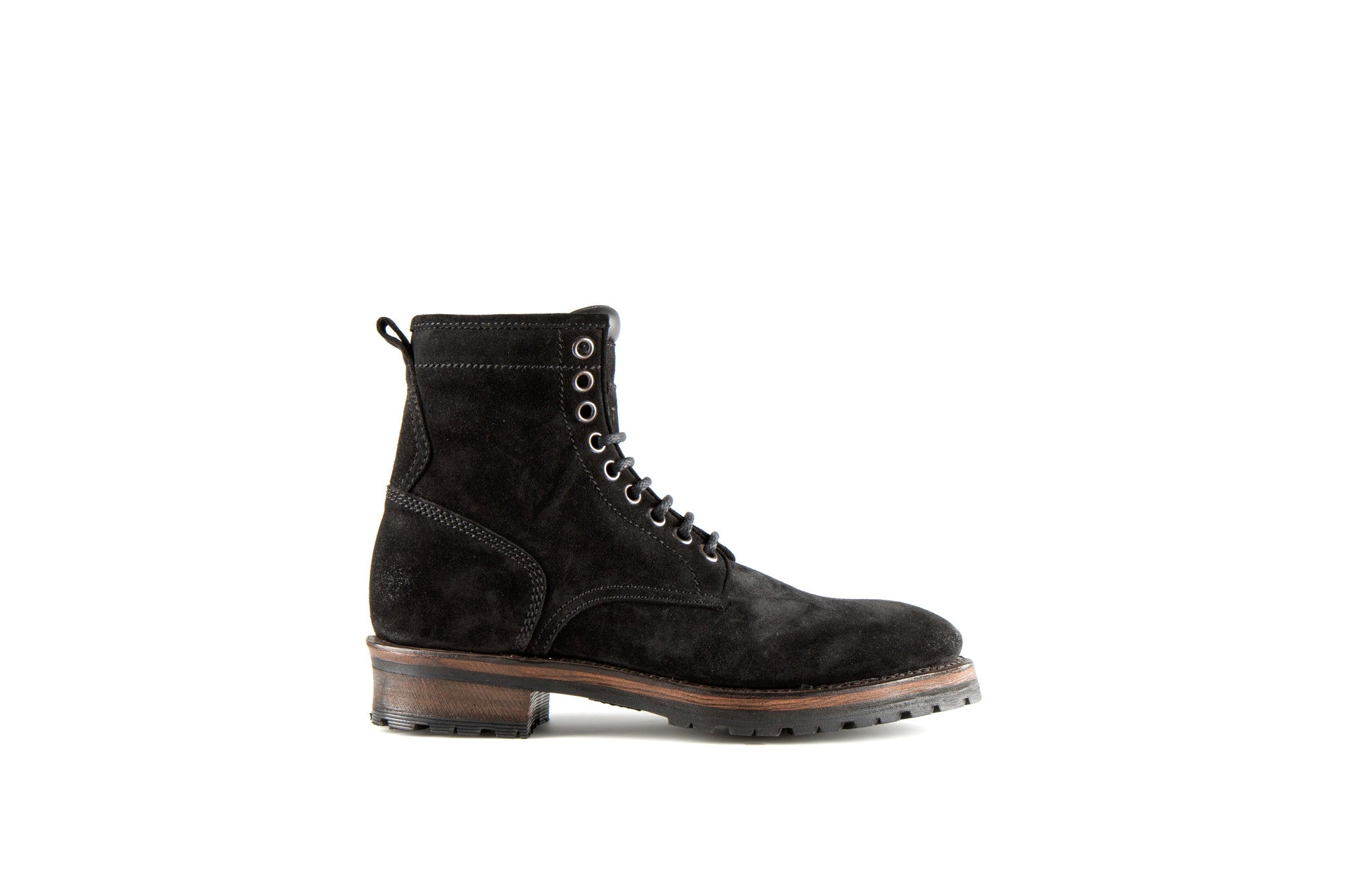 Royal Black Suede Leather Logger Boots