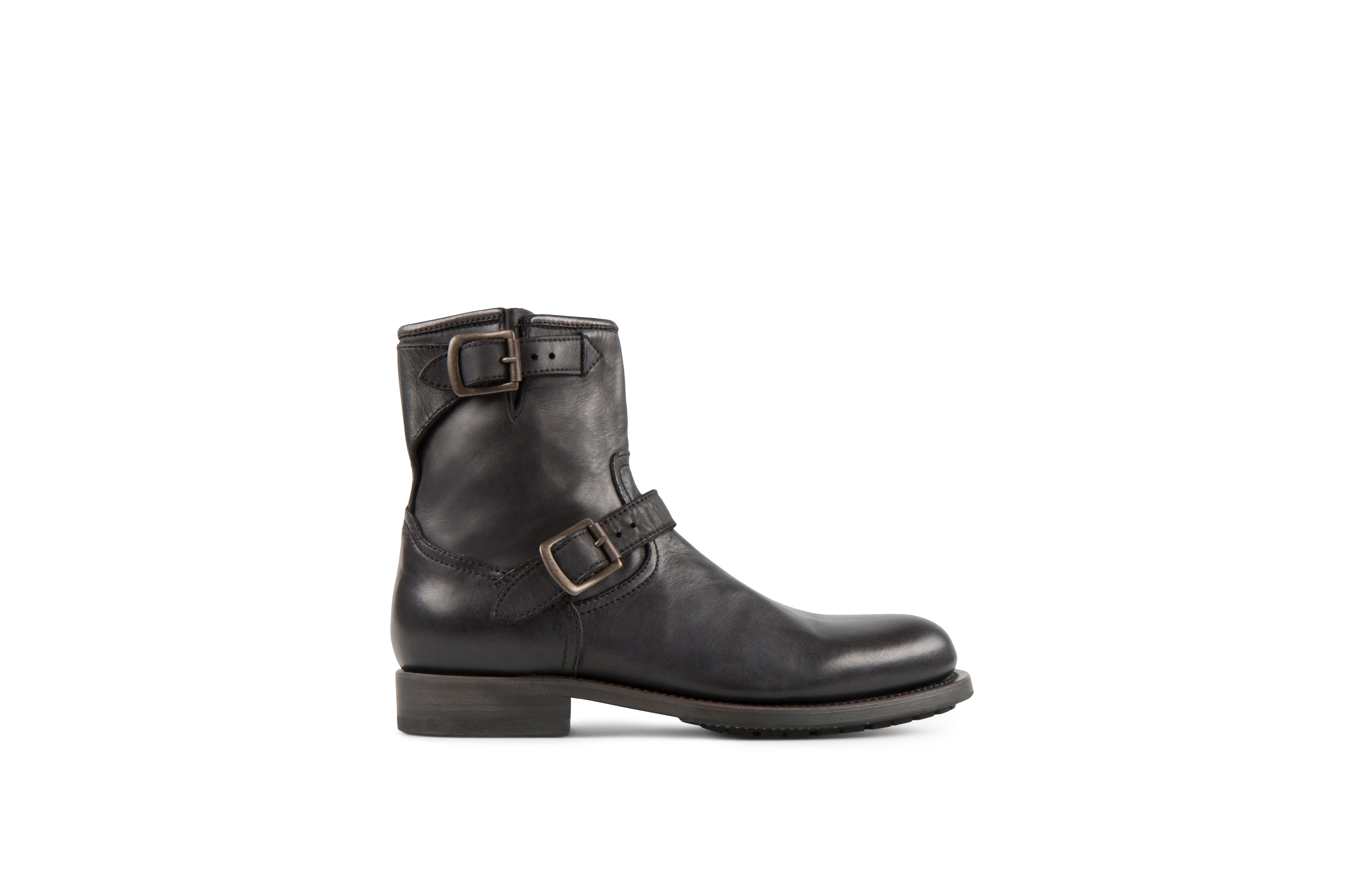 Lowrider Black Washed Calf Leather Rock Boots