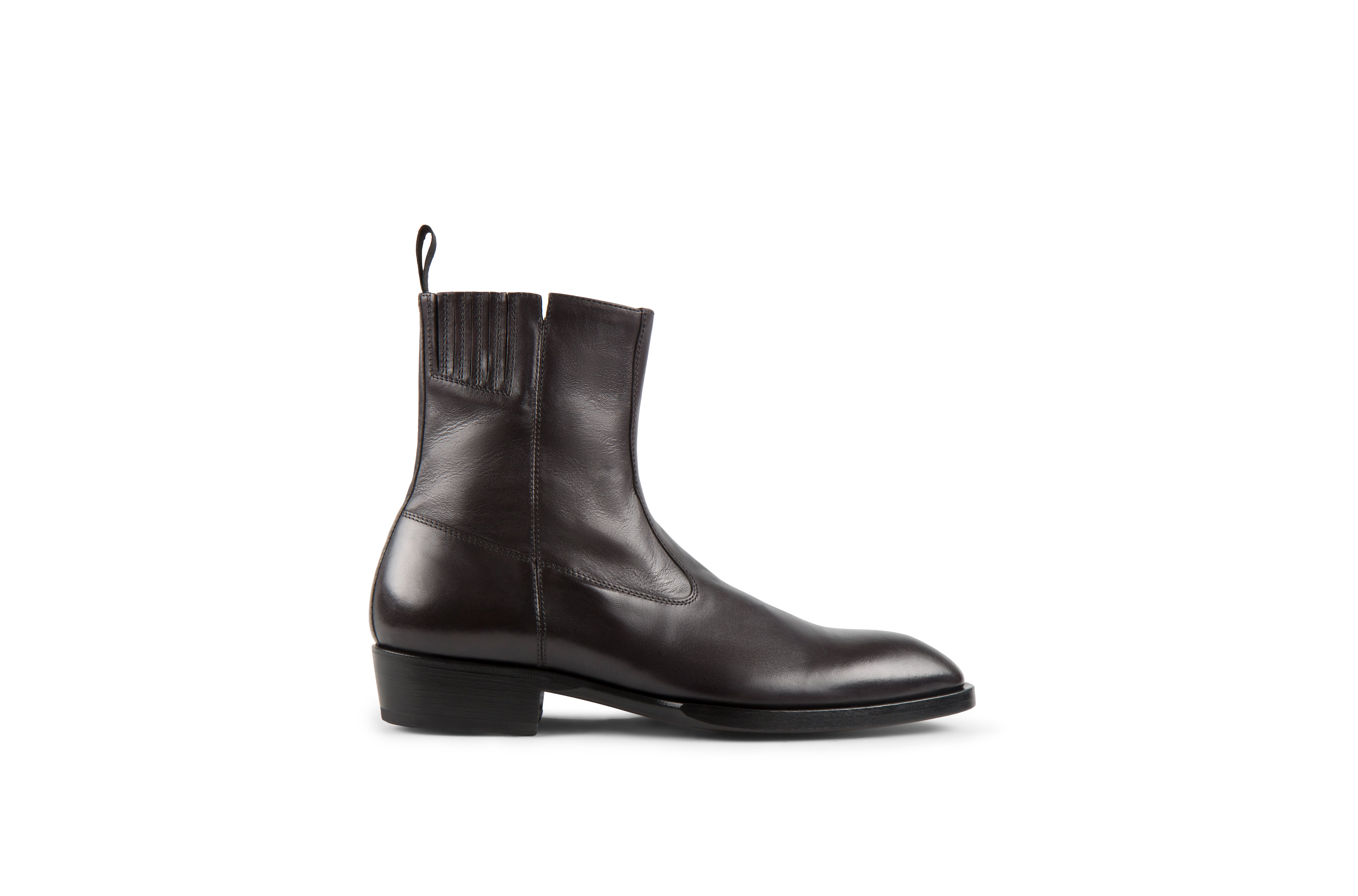 Hellstrom Black Soft Cordovan Leather Zipper Boots