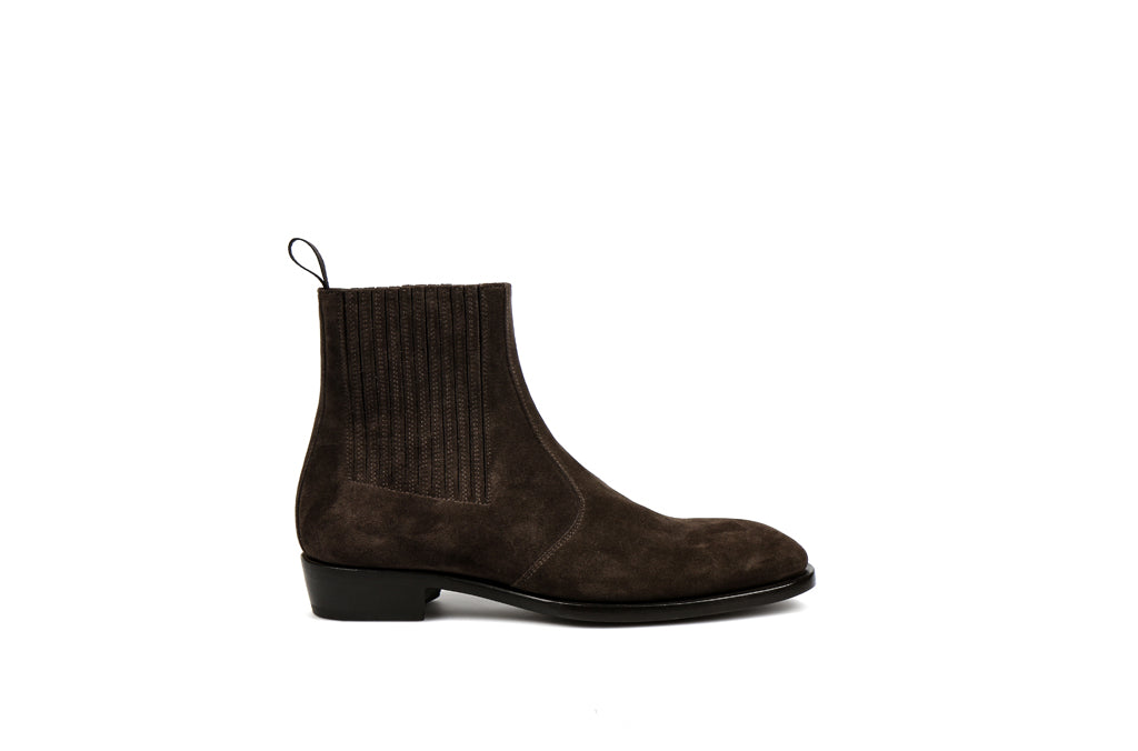 Jay Coffee Suede Leather Zipper Boots