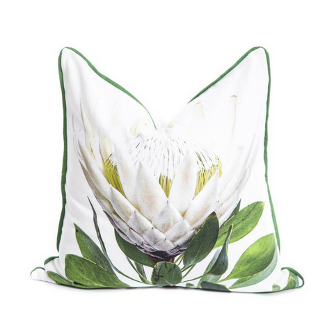 Scatter Cushion - White Protea - Joba Collection: Alternate View #1