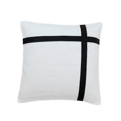 Black leather & White Natural Linen Cushion Cover