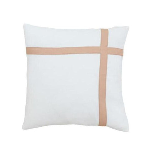 Blush Leather & White Linen Cushion