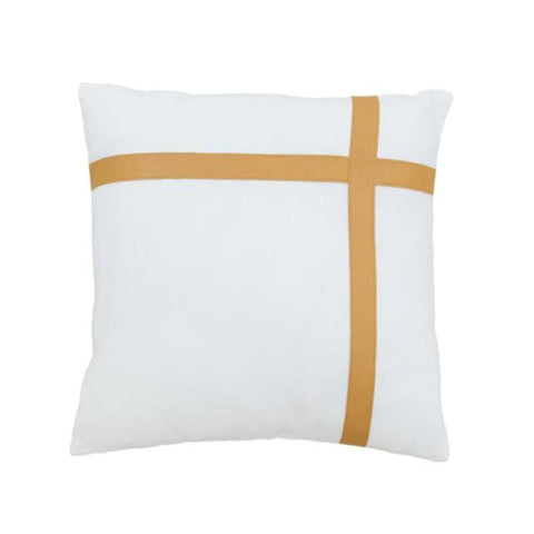 Golden Tan Leather And White Linen Cushion Cover