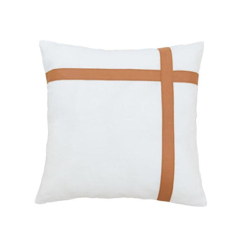 Tan Leather & White Linen Cushions