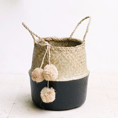 Seagrass Belly Basket Half Black: Alternate View #4