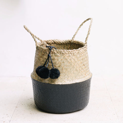 Seagrass Belly Basket Half Black: Alternate View #5