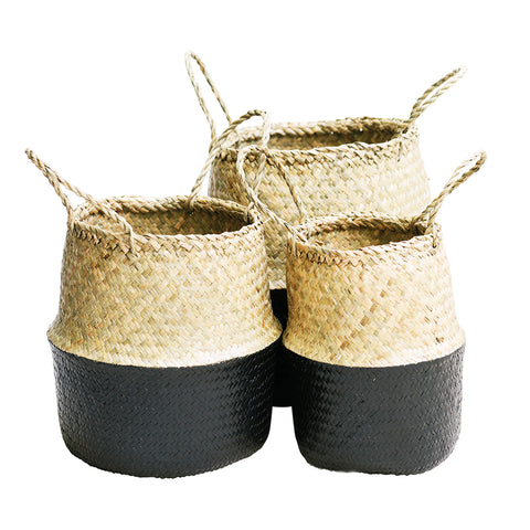 Seagrass Belly Basket Half Black: Alternate View #1