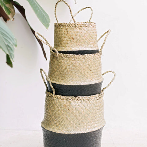 Seagrass Belly Basket Half Black: Alternate View #6