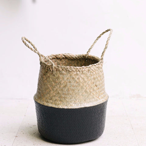 Seagrass Belly Basket Half Black: Alternate View #3