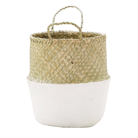 Seagrass Belly Basket Half White