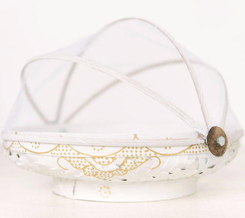 White & Gold Mandala Food Basket