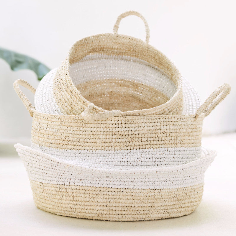 Raffia and Plastic Collapsable Baskets (set of 2)