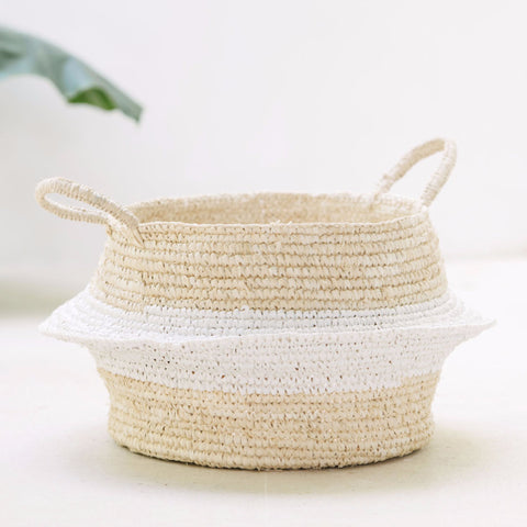 Raffia and Plastic Collapsable Baskets (set of 2): Alternate View #2